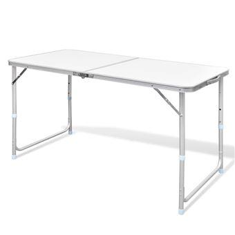 vidaXL Table pliable de camping Hauteur réglable Aluminium 120x60 cm