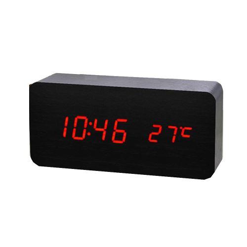 Commande Vocale Calendrier Thermomètre Numérique Led Alarme Horloge en Bois Usb / Aaa Noir PL188