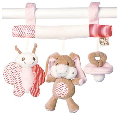 Saro cintre pour poussette avec hochet Little Friends rose