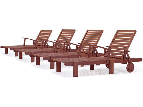 bain de soleil pliant en bois exotique tokyo - mohogany - marron acajou - lot de 4