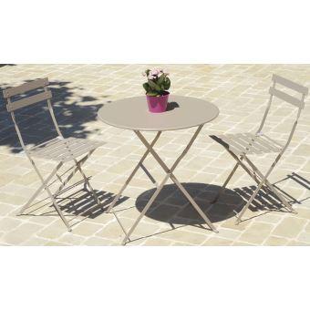 Table De Jardin Ronde Coloris Taupe ( Chaises Non Inclues ...