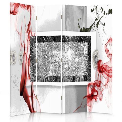 Feeby Paravent 4 parties 2 faces Diviseur de pièce déco intérieur, Abstraction Blanc Rouge Noir 145x180 cm