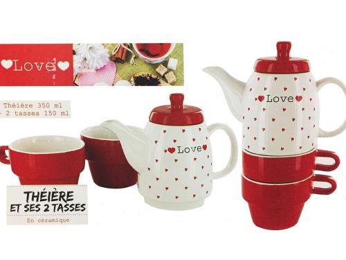 Theiere 350 Ml Et 2 Tasses Love Ceramique Rouge Blanc Ustensile Cuisine