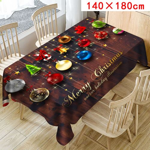 Nappe de Noël Imprimer Rectangle Table Cover Holiday Party Home Decor_Kiliaadk347