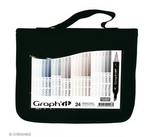 Set 24 Marqueurs à alcool Graph'it - Mix Greys - Graph it
