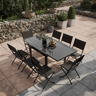 Avril Paris - Table de jardin extensible aluminium verre 90 ...