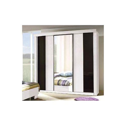 Armoire, garde robe DUBLIN trois portes coulissantes. Coloris noir et blanc brillant. Meuble pour chambre à coucher.