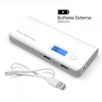 Batterie Externe 2 ports USB Puissance 20000mAh pour Smartphones