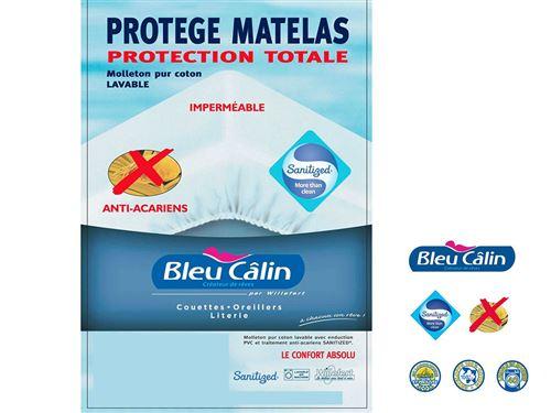 Protège matelas bébé bleu calin 60x120