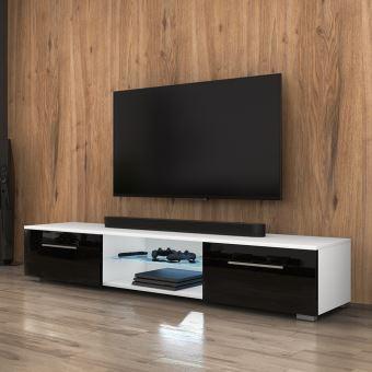 Meuble Tv Banc Tv Edith 140 Cm Blanc Mat Noir Brillant