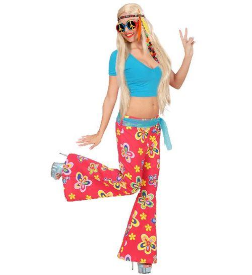 Pantalon femme hippie rouge à fleurs -Taille M/L