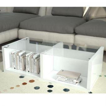 Finlandek Table Basse Tylsa Style Contemporain Blanc Laque Et Verre L 100 X L 55 Cm