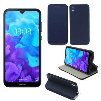 Housse Huawei Y5 2019 bleue - Etui Coque Huawei Y5 2019 Protection antichoc à rabat Smartphone 2019 - Accessoires Pochette Case XEPTIO