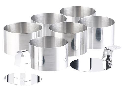 6 emporte-pièces ronds Ø 8 cm avec poussoir & support