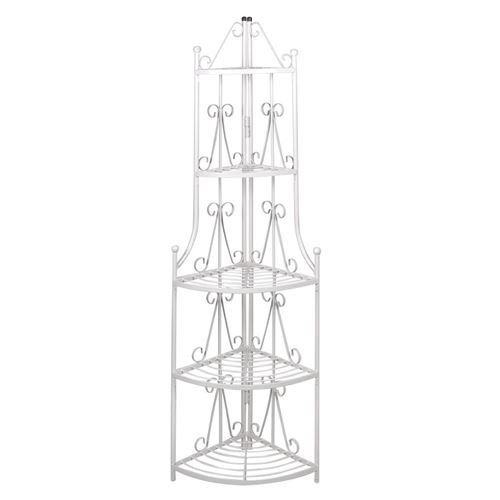Etagère d'angle 5 niveaux acier blanc intérieur ou extérieur pour plantes fleurs