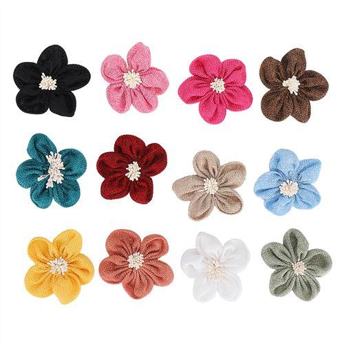 Mariage Kaki et Fleurs f/êtes Mackur Lot de 5 Fleurs en Toile de Jute Fait /à la Main pour Festivals d/écoration de No/ël