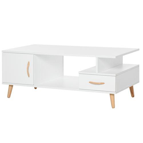 Table basse rectangulaire design scandinave 100L x 50l x 40H cm niche + tiroir & placard bois massif pin panneaux particules blanc