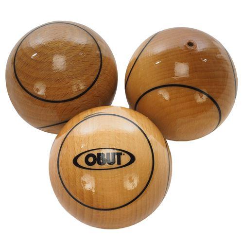 Boules de pétanque Obut Tripellette bois 65mm Marron 90497 Neuf