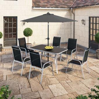 IMS Garden - Table de jardin 150 cm + 6 fauteuils textilène ...