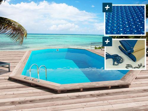 piscine bois sao paulo - 6.57 x 4.07 x 1.20 m - bâche à bulles 180 µ - bâche hiver 280 g/m² -