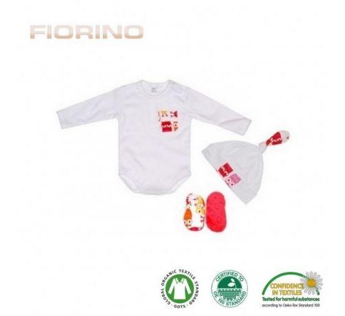 FIORINO Set Body/Chaussons/Bonnet en coton bio HIBOU ROUGE - Taille - 0 - 3 mois