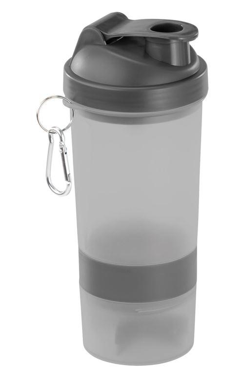 Shaker spécial fitness 500 ml avec balle mélangeuse et compartiment à poudre