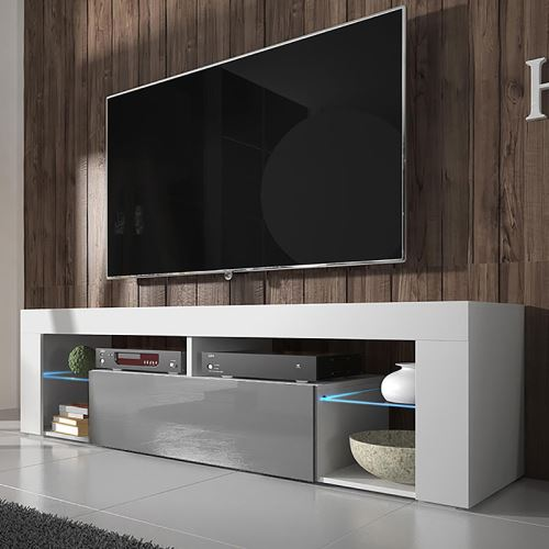 HUGO meuble TV – blanc mat / gris brillant avec LED