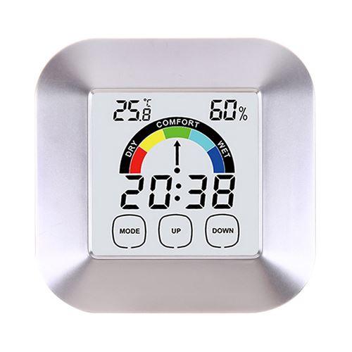 Thermomètre Hygromètre TS-S63 avec horloge électronique couleur-argent