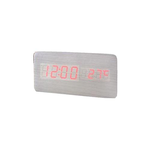 Commande Vocale Calendrier Thermomètre Numérique Led Alarme Horloge en Bois Usb / Aaa Blanc PL191