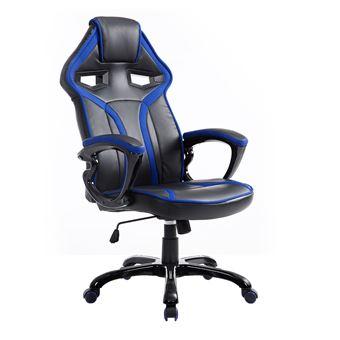 Chaise Fauteuil De Bureau Gaming Racing A Bascule Pivotant Confortable Accoudoirs Rembourres Noir Et Bleu