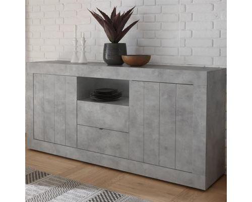 Buffet gris clair moderne 180 cm, 2 portes-2 tiroirs URBAN 2 - L 180 x P 42 x H 86 cm