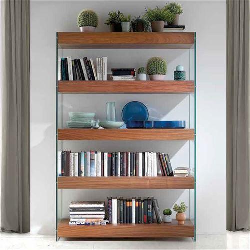 Bibliothèque contemporaine couleur noyer et verre CRONOS - L 124 x P 38,2 x  H 183 cm
