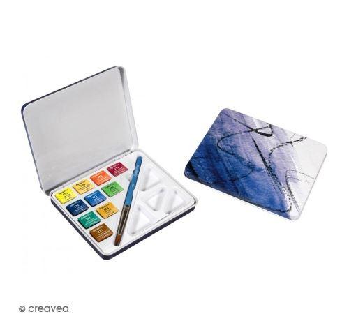 Mini boîte aquarelle de voyage - 10 couleurs