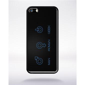 Coque Symbole Geek Man Women Compatible Apple Iphone 5 Bord Noir Silicone