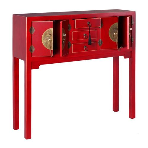 Console 4 portes, 3 tiroirs Rouge Meuble Chinois - PEKIN