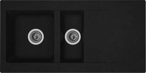 Évier Respekta Denver - En minéralite - Encastrable - Pour cuisine - Couleur noire - 100 x 50 cm