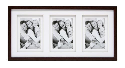Deknudt Frames S65KQ3 Cadre Photo Double Passe-Partout pour 3 Photos Bois Brun 10 x 15 cm