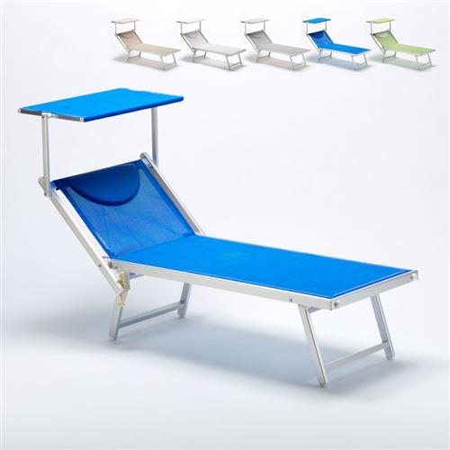 Bain de soleil transat professionnel chaise longue piscine aluminium ITALIA, Couleur: Bleu