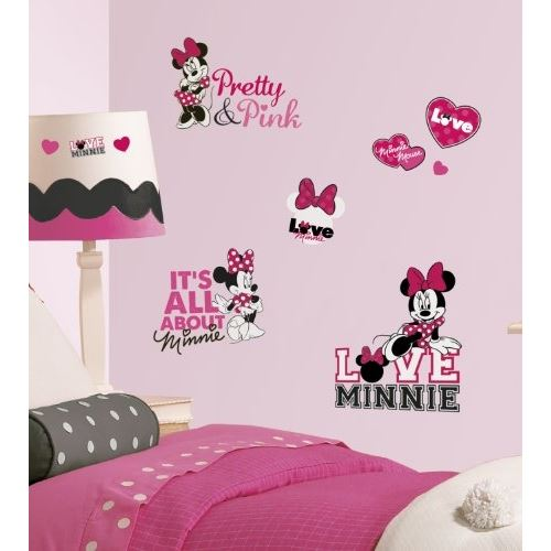 Mickey and friends - minnie loves pink peel and stick stickers muraux