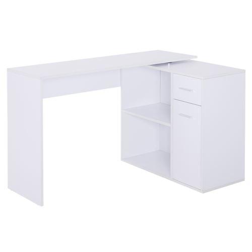 Bureau informatique multimédia modulable multi-rangements double niche + tiroir panneaux particules blanc