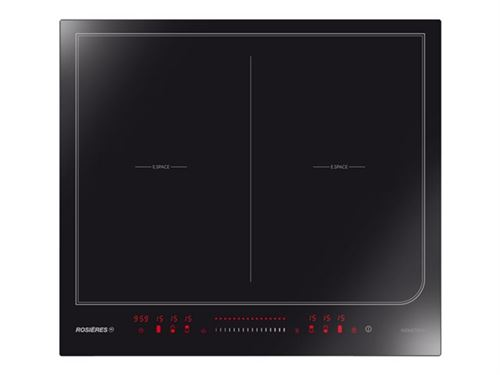 Rosières RES6D - Table de cuisson à induction - 4 plaques de cuisson - Niche - largeur : 56 cm - profondeur : 49 cm - avec cadre biseauté - Black Pearl