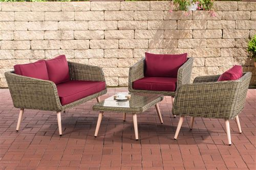 Salon de Jardin lounge Trosa 5 mm en polyrotin nature , 40 cm (Hellbraun)/Rouge rubis