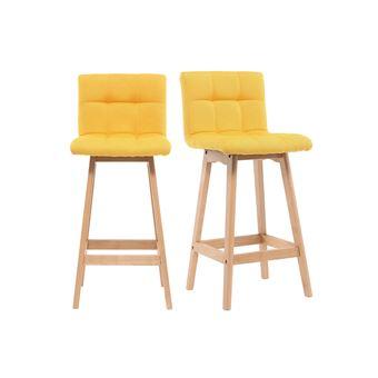 tabouret de bar bois et jaune 65cm lot de 2 klaris achat prix fnac. Black Bedroom Furniture Sets. Home Design Ideas