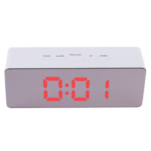 Multi-Fonctionnel Miroir Led Horloge Numérique Alarme Night Lights Thermomètre Rouge PL715