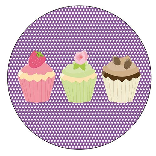 Set de 4 dessous de verres ronds 3 cupcakes by Cbkreation