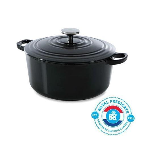 Bk Cookware H6071.528 Bk Bourgogne Cocotte En Fonte Ronde - 28 Cm - 6.7l - Revetement Emaille - Couvercle Avec Anneaux