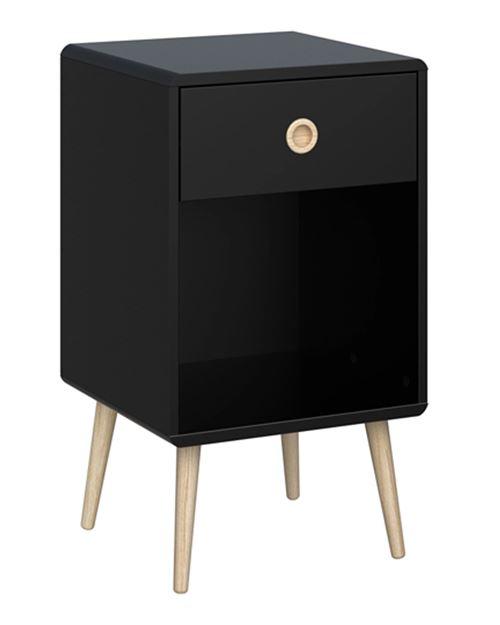 Table de chevet en MDF coloris noir - Dim : 41 x 40 x 73 cm -PEGANE-