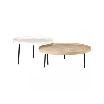 décor 2 basses contemporain NYBRO Tables rondes style blanc PkXZiu