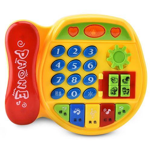 Téléphones Fixe Jeu Electronique pour Enfants Miniature Téléphone Jouet de Collection Modèle de Téléphone Electrique Musical