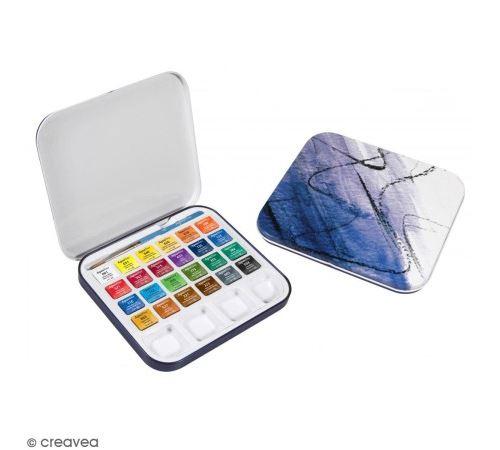 Mini boîte aquarelle de voyage - 24 couleurs